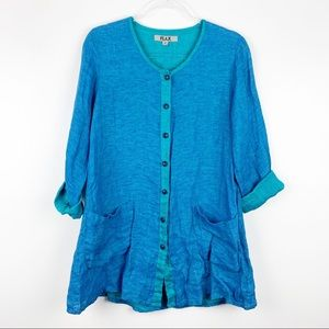 FLAX Button Front Linen Pocket Tunic XS/P